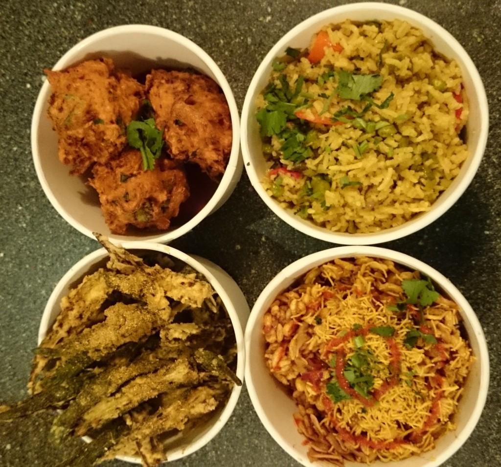 Clockwise from top left: onion bhajis, fried veg rice, bhel puri, okra fries