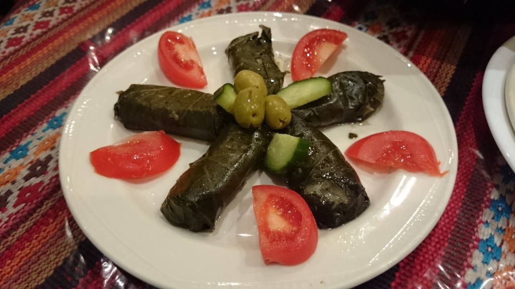Dolmeh Barg Mow, stuffed vine leaves.