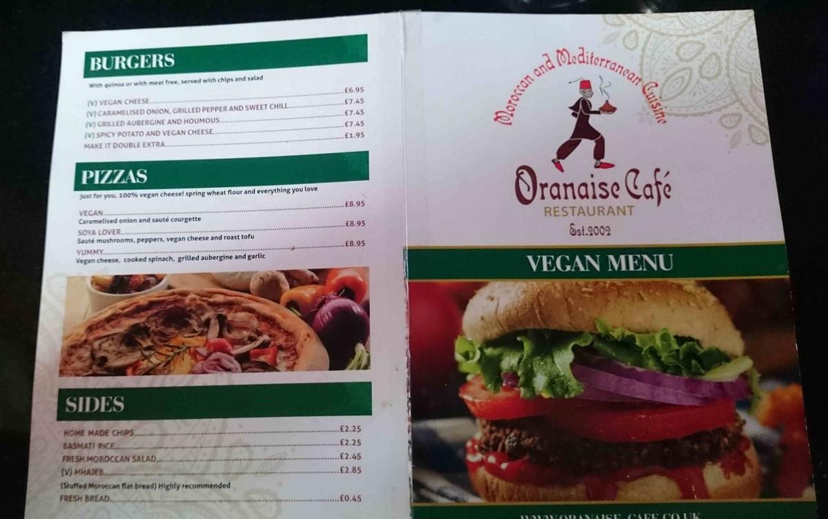Oranaise menu