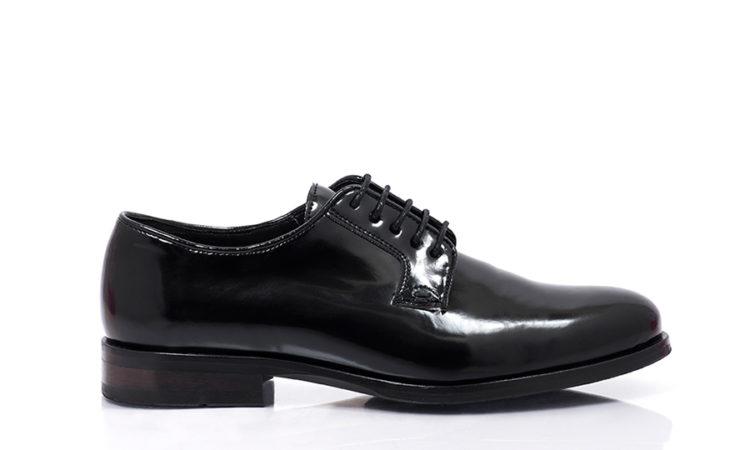 Bourgeois Boheme SS16 Lewis Vegan Derby Shoe High Shine Black Side1